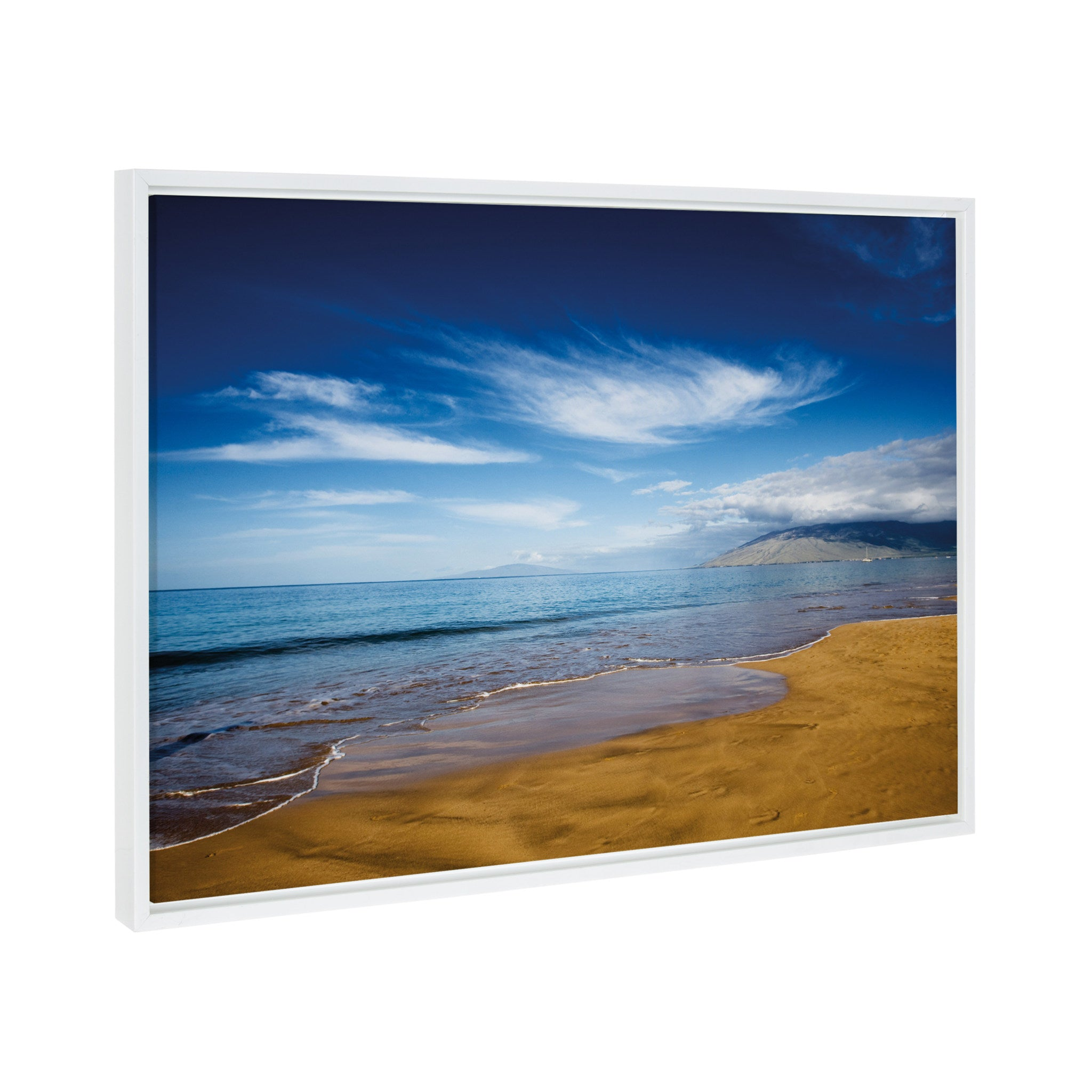 Framed Canvas, Coastal, White