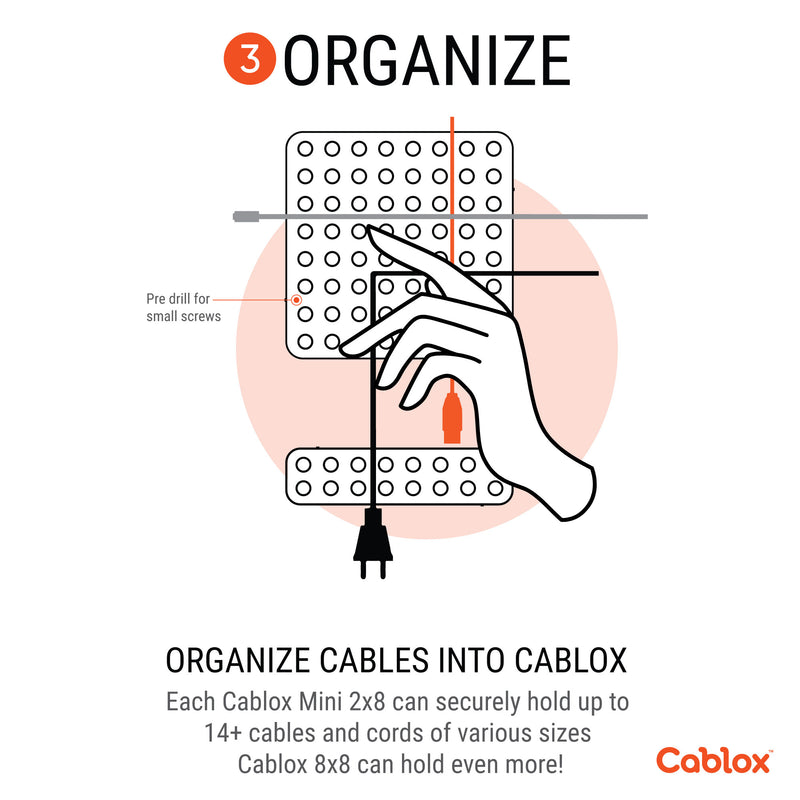 Cablox 8x8 2 Pack Bundle Premium Cable Management Adhesive Cord Organizer Universal Cable Fit  - Prism One
