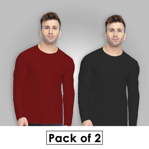 Combo Of Two - Plain Full Sleeves T-Shirts [ Maroon - Black ]