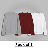 Combo Of Three - Plain Full Sleeves T-Shirts [ Grey - Maroon - White ]