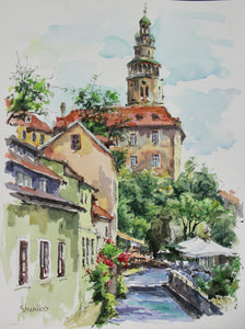 The cozy street in Cesky Krumlov