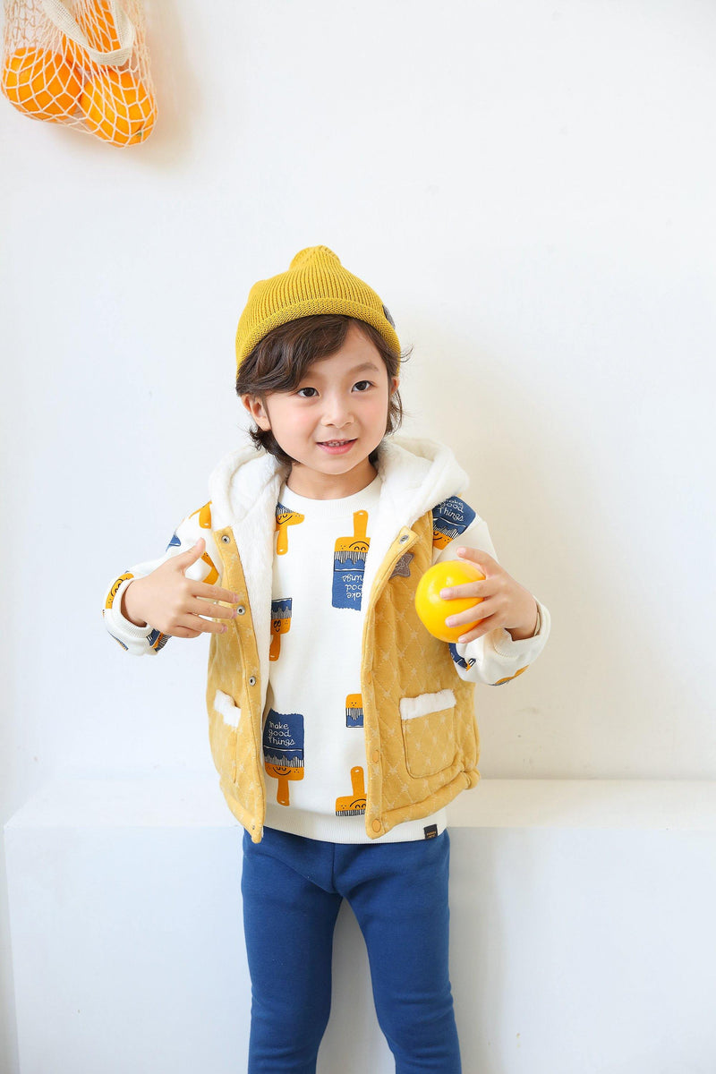 Boy sleeveless Parka-Yellow(Fall/Winter) - Organic Mom Hong Kong
