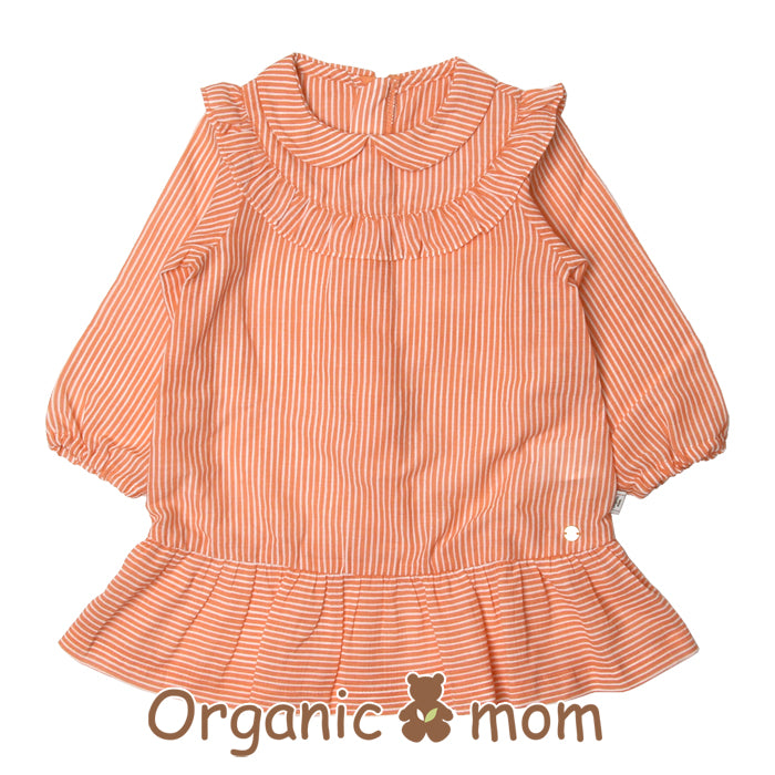 Organic Mom Flame Orange Stripy Dress (SPRING)