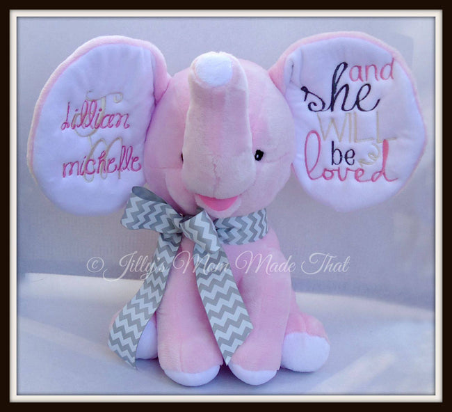 Pink Stuffed Dumbo Elephant - ...and She Will be Loved