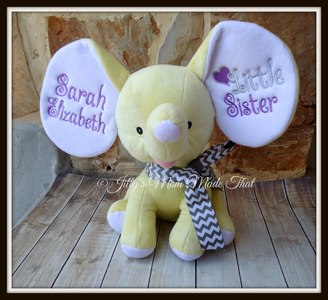 Yellow Stuffed Dumbo Elephant - Sister