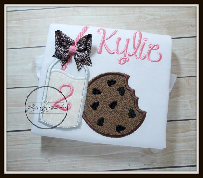 Milk & Cookies with Brown Bow Shirt