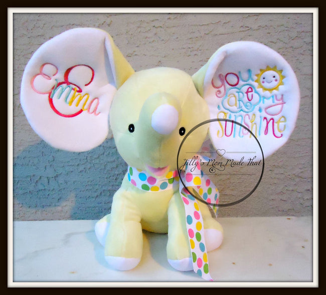 Yellow Stuffed Dumbo Elephant - You Are My Sunshine