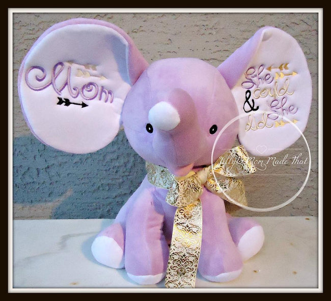 Lavender Stuffed Dumbo Elephant - She Could & She Did