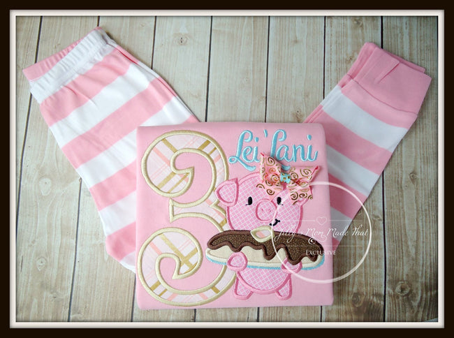 Pig and Pancake Pajamas - Pink/Gold/Turquoise
