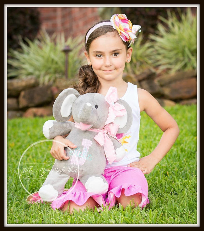 Grey Elephant w/ White Ears & Feet Stuffed Animal