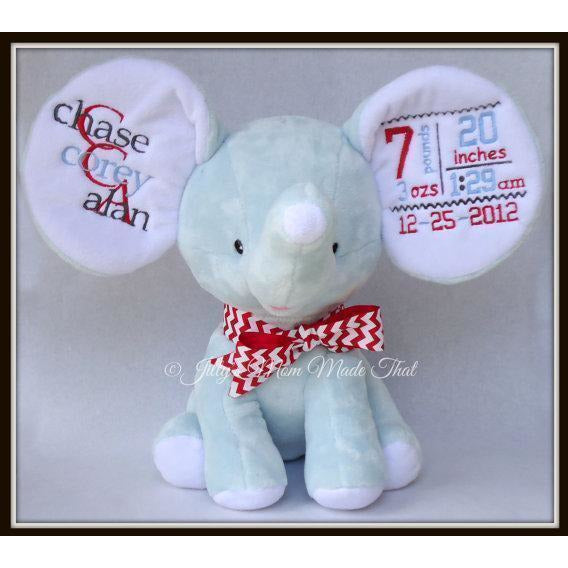 Blue Dumbo Elephant -Red/Pewter/Light Blue