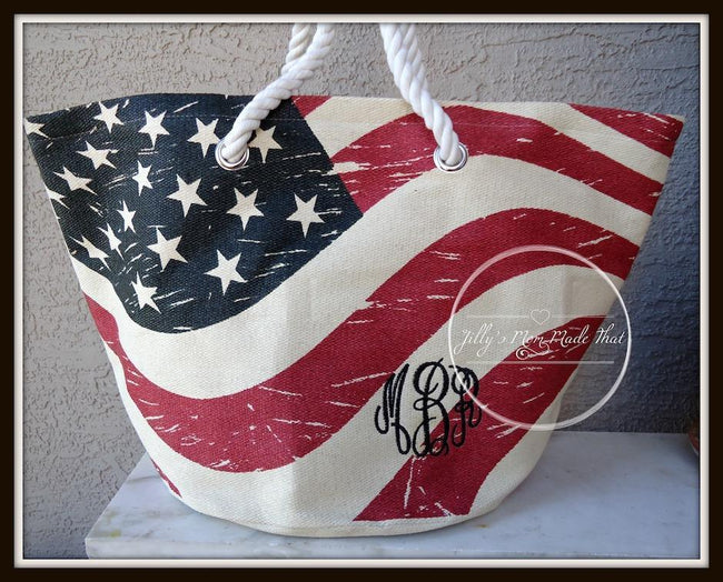 United States Flag Print Tote Bag