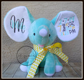 Mint Stuffed Dumbo Elephant - Yellow/Mint/Pewter