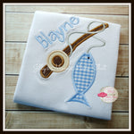 Fishing Pole and Fish Shirt - Brown & Light Blue