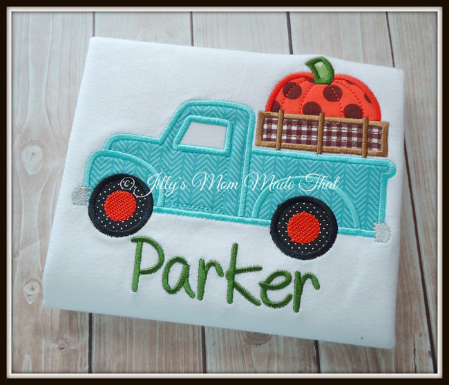 Classic Teal Truck with Pumpkin Shirt
