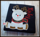 Sitting Reindeer on Black Shirt