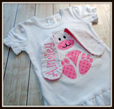 Floppy Ear 3D Bunny Shirt - White & Hot PInk