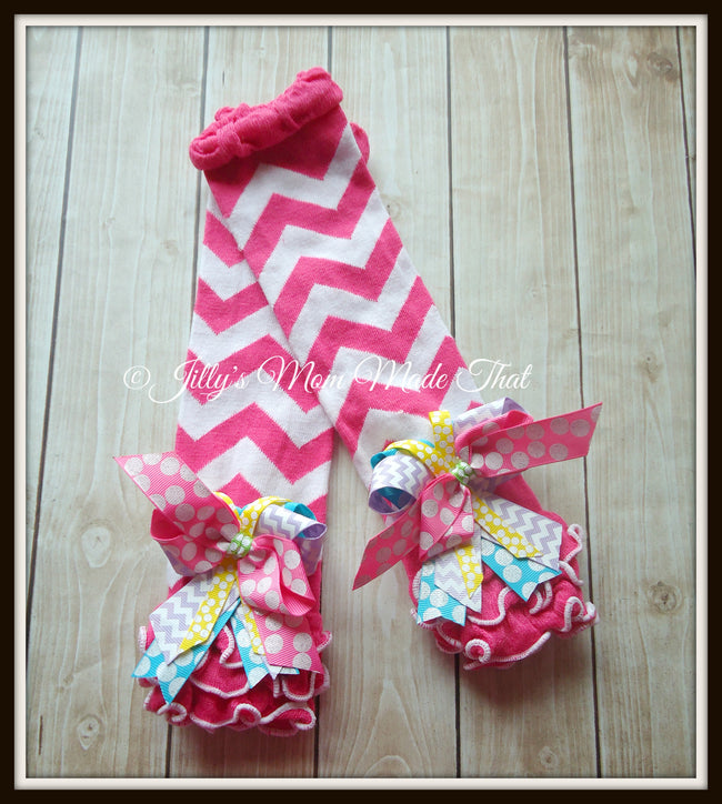 Pink & White Birthday Chevron Ruffled Warmers