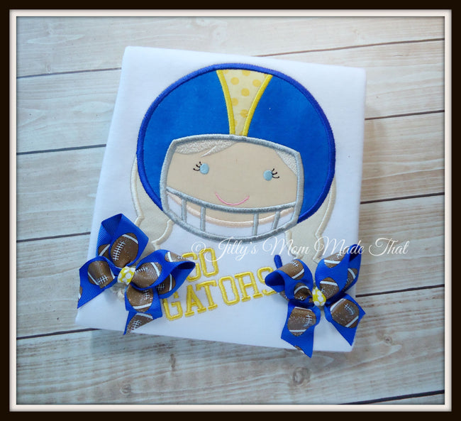 Football Girl Shirt - Blue Helmet