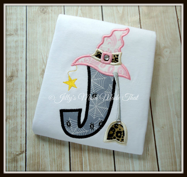 Witch Hat and Broomstick Initial Shirt