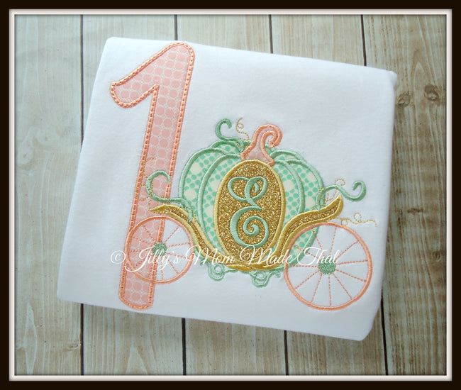 Princess Pumpkin Carriage Birthday Shirt - Mint/Coral
