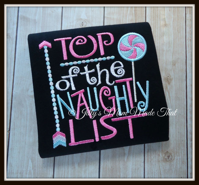 Top of the Naughty List Shirt - Pink & Blue