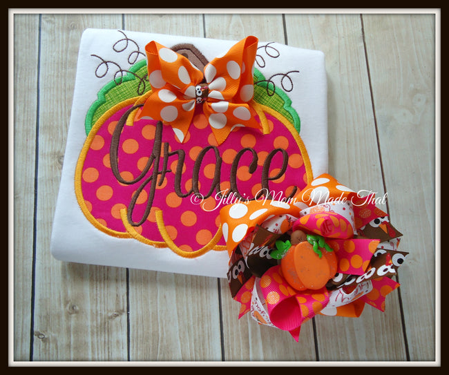 Hot Pink & Orange Pumpkin Shirt