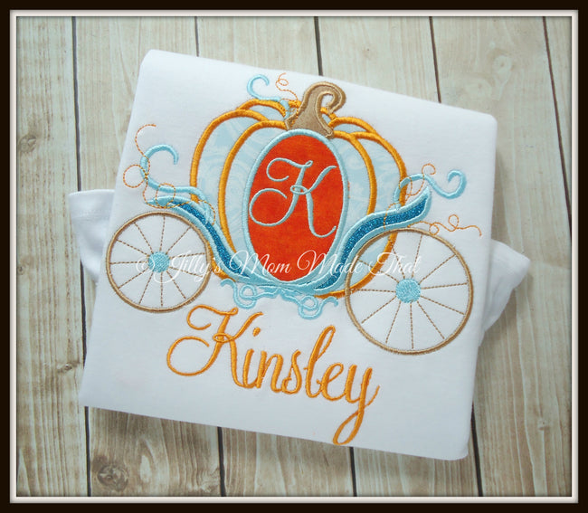 Princess Pumpkin Carriage Shirt - Aqua & Orange