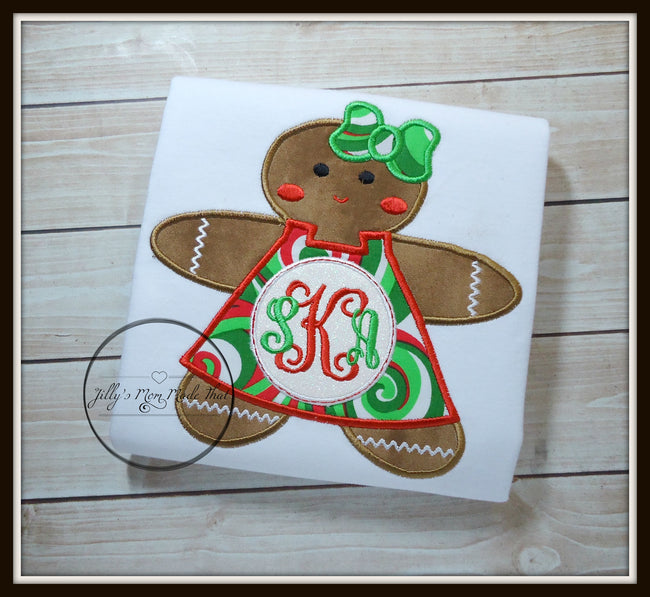 Gingerbread Girl Monogram - Christmas Swirl