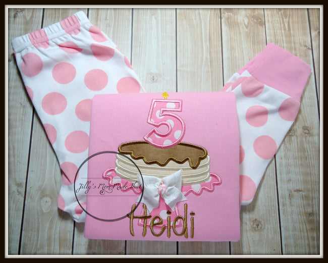 Pancake Pajamas - Pink Polka Dot/White/Brown