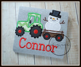 Green Tractor with Snowman on Grey Shirt
