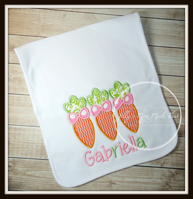 Carrot Trio Bib or Burp Cloth