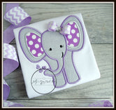 Baby Elephant Shirt - Purple & Grey