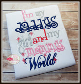 I'm My Daddy's Girl Mommy's World Shirt - Navy Blue & Pink