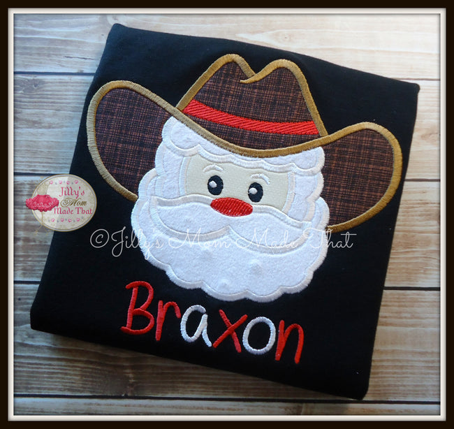 Cowboy Santa on Black Shirt