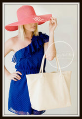 Coral Floppy Hat with Monogram
