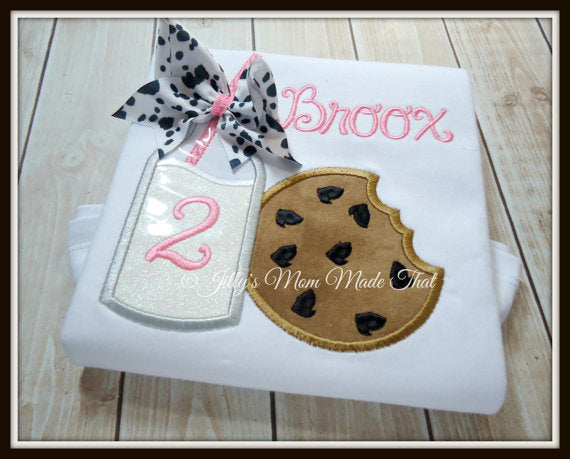 Milk & Cookies Pink with Cow Print Bow Shirt