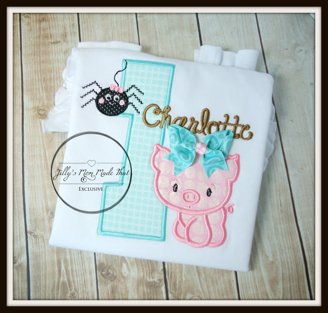 Charlottes Web Shirt with Aqua & Brown