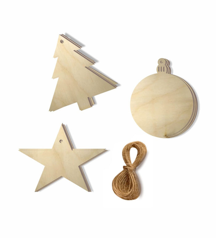 Christmas Tree Decorations Items-Wooden Christmas Tree Ornaments(30 pcs 3 Styles)