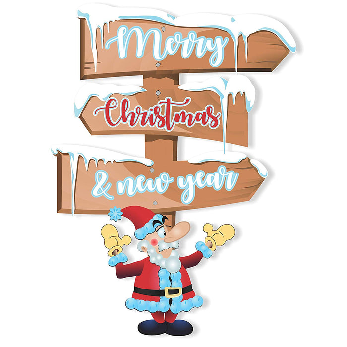 Christmas Sign Board Wall Door Decoration (Santa Merry Christmas)