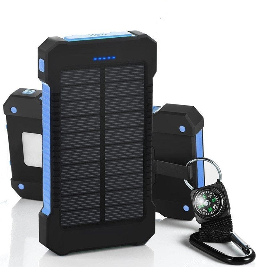 Solar Power Bank Waterproof 30000 mAh Solar Charger with LED Light