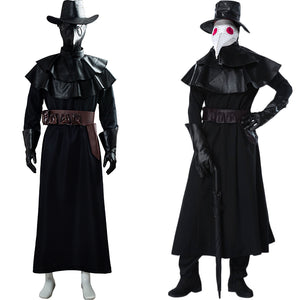 Plague Doctor Steampunk Bird Beak Mask Cosplay Halloween Long Robe Cape Outfit Cosplay Costume