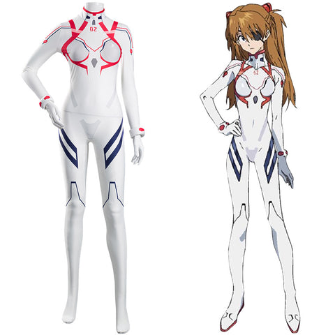 Asuka Langley Sohryu White Jumpsuit Battle Outfits Halloween Carnival Suit Evangelion 4.0 Final EVA Cosplay Costume