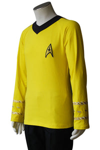 Star Trek TOS Captain Kirk Spock Cosplay Costume Blue Gold Yellow T Shirt