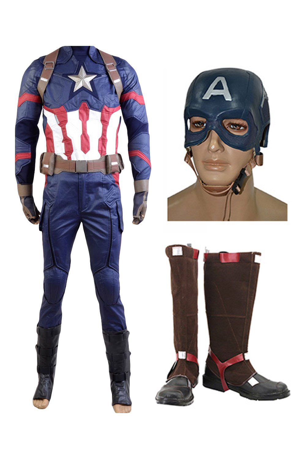 Captain America: Civil War Steve Rogers Cosplay Costume+Mask+Shoes