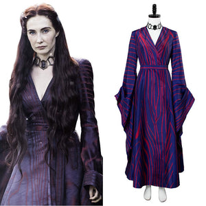 Game of Thrones Season 6 Melisandre Purple Stripe Cosplay Costume