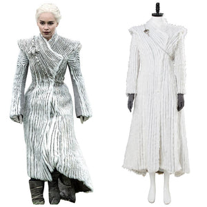 Game of Thrones Daenerys Targaryen Winter Outfit Season 7 E6 Dragonstone Snow Dress