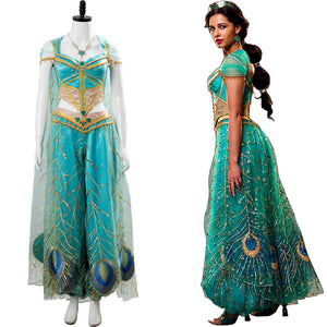 Naomi Scott Aladdin the Movie Princess Jasmine Blue Outfit Cosplay Costume