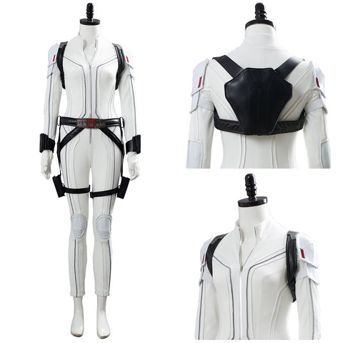 Shield Avengers Black Widow Movie Natasha Romanoff White Jumpsuit Cosplay Costume