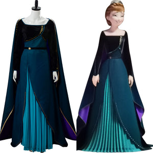 Frozen 2 Disney Coronation Anna Queen Dark Green Gown Cosplay Costume